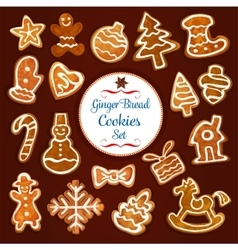 Christmas gingerbread cookie and biscuit set vector