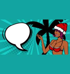 christmas pop art black sexy woman smile vector image