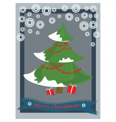 Christmas tree decorated card vector image