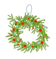 Christmas wreath sketch for your design vector image