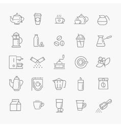 Coffee line icon set vector image