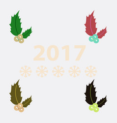 Collection of new year rowanberry vector
