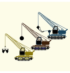 color icon set with construction equipment vector image