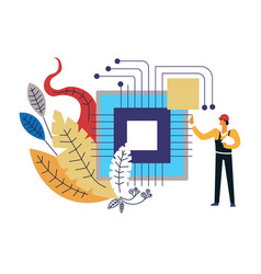 computer technology man worker building vector image