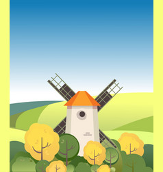countryside windmill among trees vector image