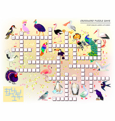 Crossword puzzle game for kids with cute birds vector
