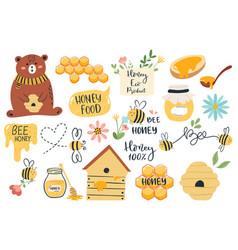 cute honey symbols hand drawn honey jar vector image