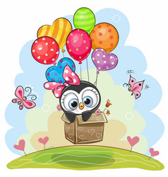 cute penguin in the box is flying on balloons vector image