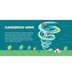 Dangerous Wind Flat Design Banner vector