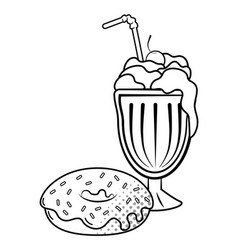Donuts and milk shake black and white vector