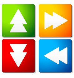 Double arrow symbols on colorful squares arrow vector