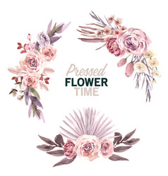 Dried floral bouquet design with rowan peony rose vector