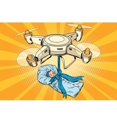 Drone quadcopter delivery of a newborn baby vector