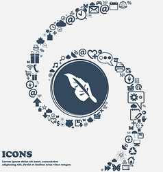 Feather icon in the center Around the many vector