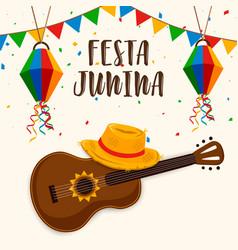 Festa junina greeting card guitar and hat vector