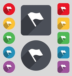 Finish start flag icon sign A set of 12 colored vector