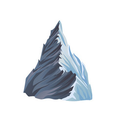 flat icon of high mountain with lights and vector image
