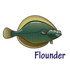 Flounder fish cartoon character vector image