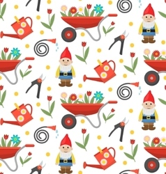 Gardening seamless pattern with gnome flowers and vector image