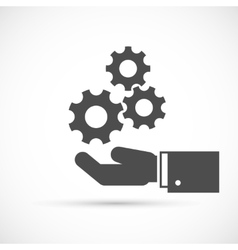 Gears on hand icon vector image