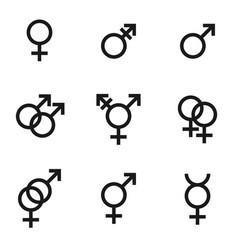 Gender identities icons set sex relationship vector