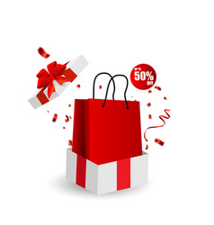 gift box white bag banner design red bow and vector image