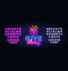 give away neon sign design template vector image