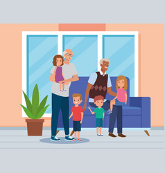 Grandfathers with their cute boys and girls kids vector