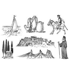 greek culture set national symbols sailboat vector image