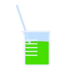 Green beaker icon flat style vector