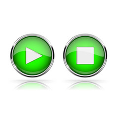 green round media buttons play and stop button vector image