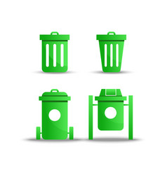 green trash icon on white background vector image
