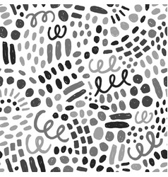 Hand drawn grayscale paint drops and dots vector