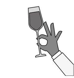 hand holding champagne glass cheers celebration vector image