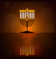 hanukkah poster with menorah vector image