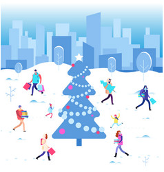 happy christmas holiday winter people walking at vector image