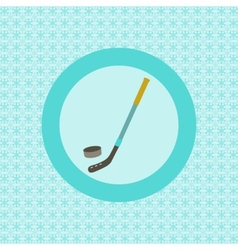 Hockey stick and puck flat icon vector image