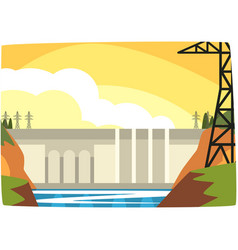 Hydroelectric power plant hydro energy industrial vector