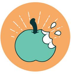 Icon tattoo style bitten apple vector