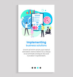 implementing business solution businessmen charts vector image