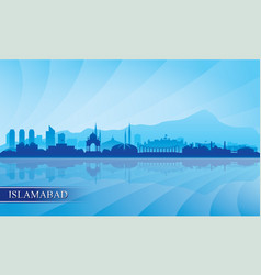 islamabad city skyline silhouette background vector image