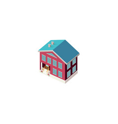 Isometric facade red house vector