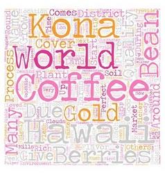 Kona Coffee Gold Of Hawaii text background vector