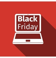 Laptop with Black Friday Sale on screen flat icon vector image