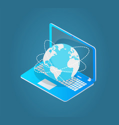 Laptop with world wide web emblem 3d model vector