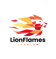 Lion fire flame geometric polygonal logo icon vector