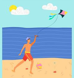 Man on beach having fun with kite sand sea vector
