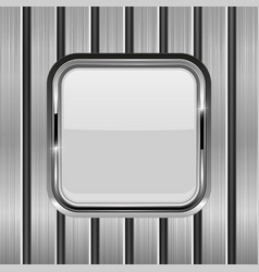 metal vertical planks with white glass button vector image