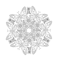 monochrome mehndi mandala with butterflies vector image