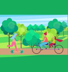 mother daughter riding bicycle in tree park vector image